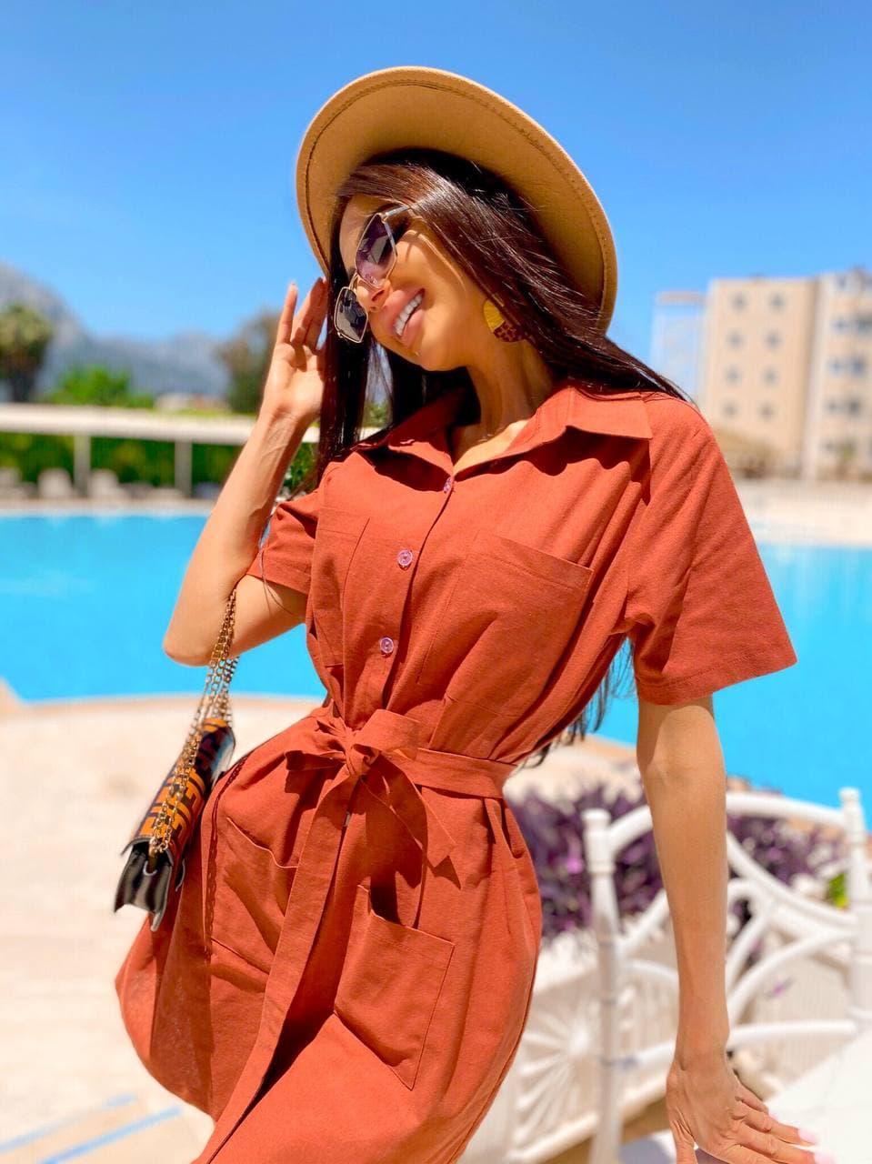 Льняное летнее платье рубашка короткое с накладными карманами и коротким рукавом (р. 42-44) 8032574