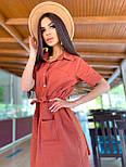 Льняное летнее платье рубашка короткое с накладными карманами и коротким рукавом (р. 42-44) 8032574, фото 9