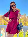 Льняное летнее платье рубашка короткое с накладными карманами и коротким рукавом (р. 42-44) 8032574, фото 10