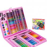 Детский набор для творчества и рисования в чемоданчике 150 предметов Розовый