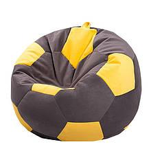 Безкаркасне крісло мішок футбольний м'яч Kospa коричнево-жовтий S (60x60 см)