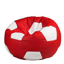 Безкаркасне крісло мішок футбольний м'яч Kospa червоно-білий S (60x60 см)