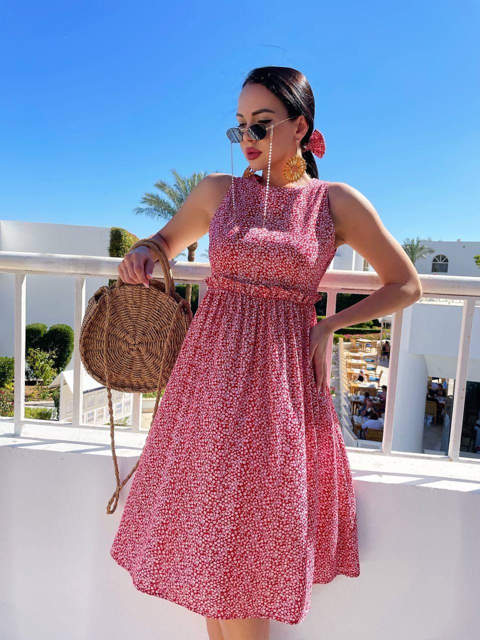 Літнє плаття із завищеною талією з штапелю в квітковий принт (р. 42, 44, 46) 4032575