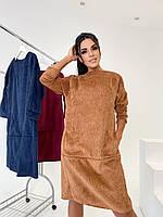 Стильне жіноче вельветове плаття батал, фото 1