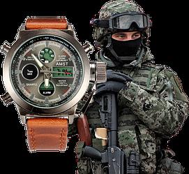 Протиударні годинник AMST 3003 Чоловічі Наручні Армійські Тактичні годинник Амст Військові електронні Метал
