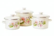 Набір емальованого посуду Idilia Квіткова вуаль молочний 3 предмета 2л/3л/5,5 л (№732)