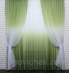 Готовые шторы в комплекте с тюлем оливковый цвет