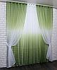 Готовые шторы в комплекте с тюлем оливковый цвет, фото 3