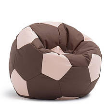 Безкаркасне крісло мішок футбольний м'яч Kospa коричнево-бежевий S (60x60 см)