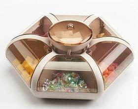 Обертова тарілка для закусок фруктів і солодкого Snack-Combination box Fruit Plate 1 ярус 7отсеков