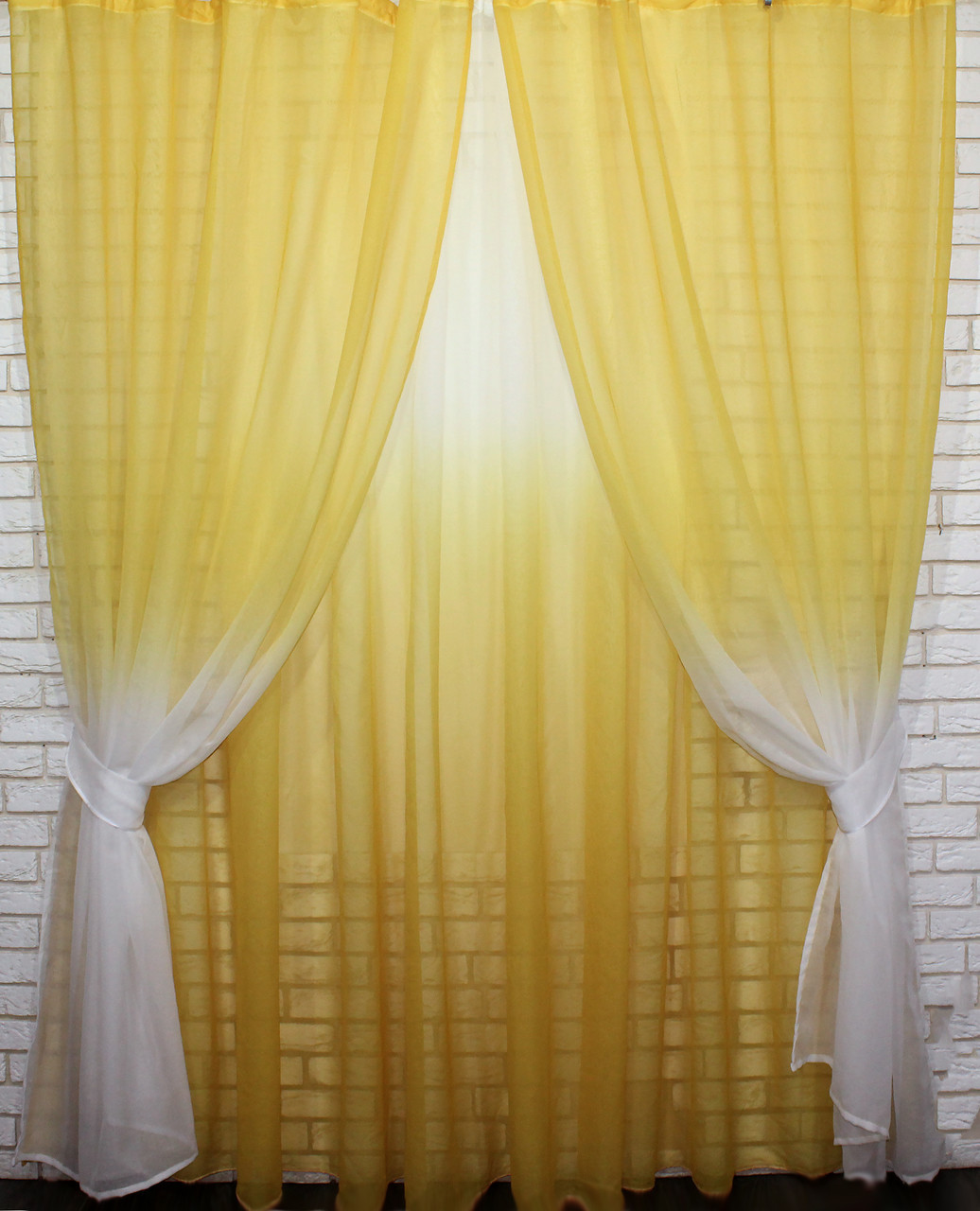 Готовые шторы в комплекте с тюлем желтый цвет