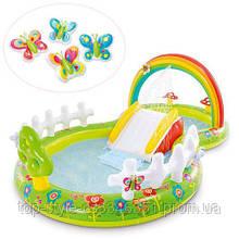 """Детский надувной бассейн INTEX 57154 Игровой центр с горкой """"Мой сад"""" размер 290-180-104 см объем 450л"""