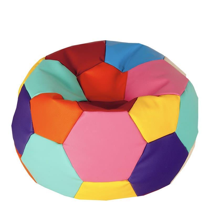 Бескаркасное кресло мешок футбольный мяч Kospa радуга S (60x60 см)  80х80