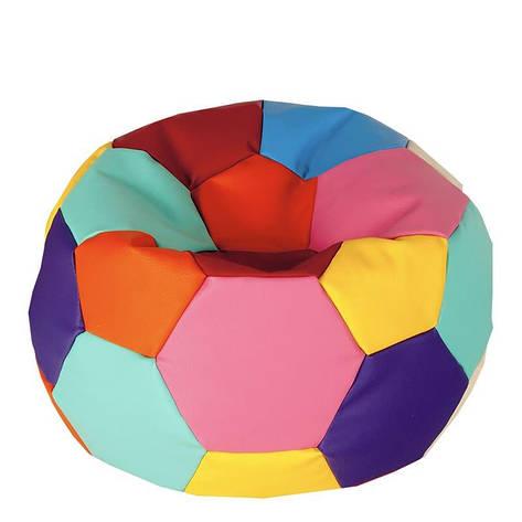Бескаркасное кресло мешок футбольный мяч Kospa радуга S (60x60 см)  80х80, фото 2
