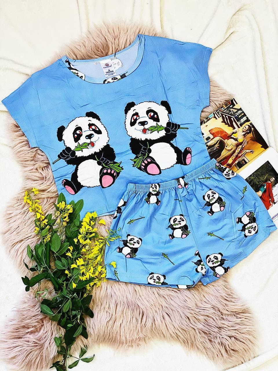 Пижама  трикотаж голодные панды Голубая укороченная футболка и шорты