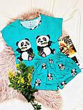 Пижама  трикотаж голодные панды Голубая укороченная футболка и шорты, фото 2