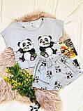 Пижама  трикотаж голодные панды Голубая укороченная футболка и шорты, фото 4