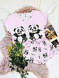 Пижама  трикотаж голодные панды Голубая укороченная футболка и шорты, фото 3