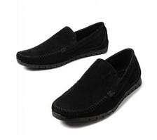 Мужские мокасины черного цвета из натуральной замши, туфли мужские замшевые