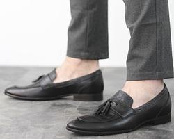 Кожаные мужские туфли, кожаные мужские лоферы без шнуровки