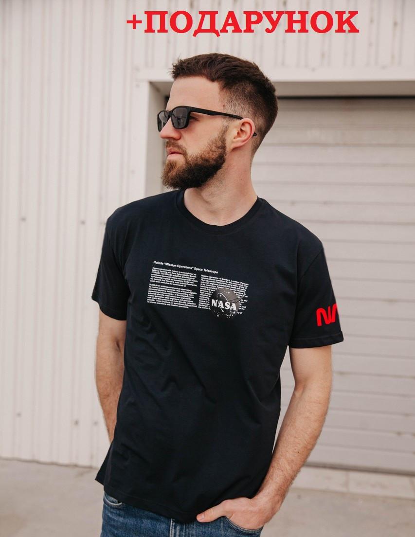 Мужская однотонная футболка с логотипом NASA / Молодежная футболка наса Черная