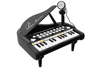 Детское пианино синтезатор Baoli с микрофоном 24 клавиши черное SKL17-223459
