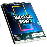 Скетчбук с акварельной бумагой А3 200 г\м2 для скетчинга для рисования, альбом 50 листов