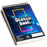 Скетчбук с акварельной бумагой А5 200 г\м2 для скетчинга для рисования, альбом 50 листов