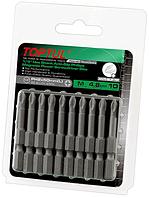 "Набор бит для шуруповертов магнитных 10шт TOPTUL 1/4"" 50мм PH2 Anti-Slip FSMA0802G"
