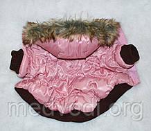 Зимняя куртка-пуховик для собак, с мехом, размер S