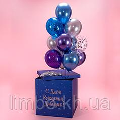 Коробка сюрприз с шарами хром
