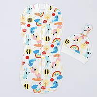 """Евро-пеленка BabySoon на молнии с шапочкой """"Радуга"""" размер 0-3 мес разноцветная"""