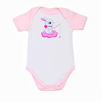 """Детский боди - футболка BabySoon """"Зайка на тучке"""" цвет розовый 62см"""