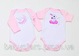"""Набор детских боди BabySoon """"Зайки"""" цвет розовый 62см"""