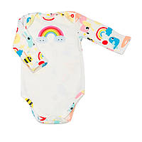 """Детский с длинным рукавом BabySoon """"Радуга"""" разноцветный на молочном фоне 62см"""
