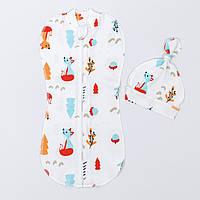 """Евро-пеленка BabySoon на молнии с шапочкой """"Лисички"""" размер 0-6 мес цвет молочный"""