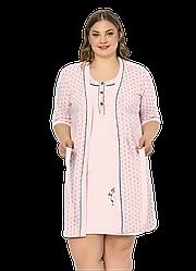 Комплект халат и ночная рубашка 2XL-4XL хлопковая, батал, розовый Seyk
