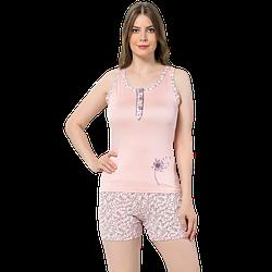 Пижама женская S/M-L/XL хлопковая майка с шортиками Seyko одуванчик