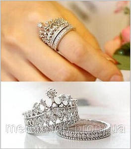Двойное кольцо корона (серебристое) 16,17, 18 размеры