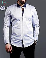 Белая рубашка с рисунком на кнопках с оригинальным цветным воротом XL