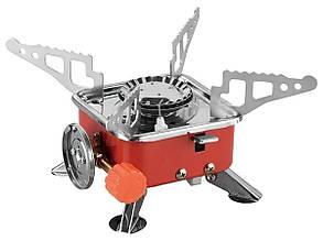 Туристическая газовая плита Portable Card Type Stove K-202 красная, портативная мини печь | міні газова плита