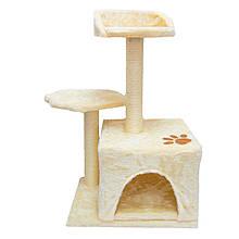 Когтеточка с домиком для котов бежевая, домик игровой комплекс для кота и царапка (точилка для котов)