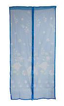 Антимоскитная сетка на дверь на магнитах синяя с рисунком 210х100см, сетка от мух на двери | сітка на магнітах