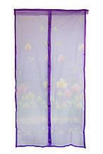 Сетка на двери от мух на магнитах фиолетовая с рисунком 210х100см, сетка москитная на дверь