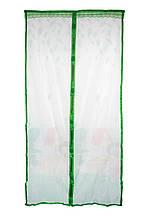 Дверная антимоскитная сетка на магнитах зеленая с рисунком 210х100см, сетка на дверь от комаров | сітка на две