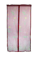 Антимоскитная магнитная шторка розовая с рисунком 210х100см, антимоскитная сетка на магнитах