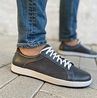 Кожаные мужские кеды серого цвета на шнуровке