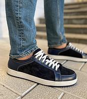 Кожаные мужские кеды темно синего цвета на шнуровке