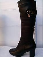 Сапоги женские кожаные зима на каблуке Турция на широкое голенище 36 - 40 размер