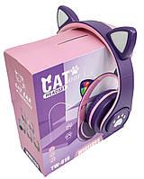 Наушники bluetooth с ушками и подсветкой CAT EAR YW-018 Bluetooth блютуз гарнитура детская (Фиолетовый) (TI)